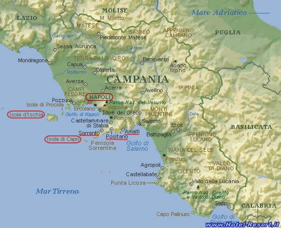 Cartina Costa Campania.Prenotazioni Hotel Campania Hotel In Campania