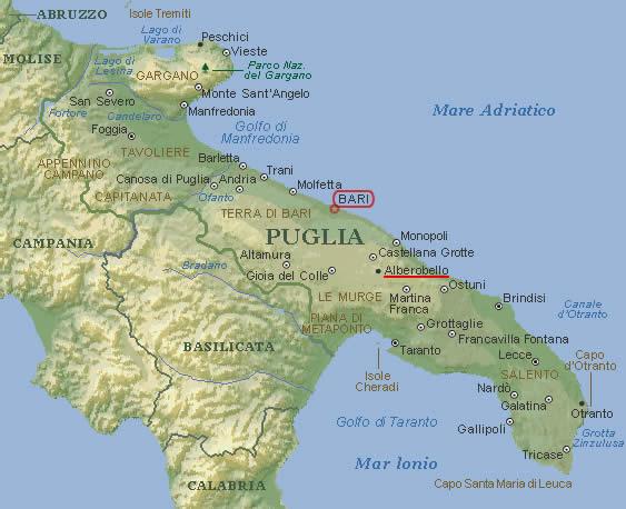 Puglia Cartina Fisica.Mappa Muta Puglia Hotel