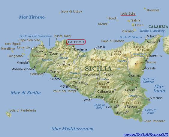 Sicilia E Isole Cartina.Prenotazione Hotel In Sicilia Hotel In Sicilia